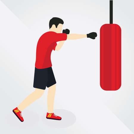 punching bag: man hitting on punching bag Illustration