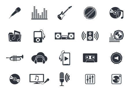 Instruments de musique et des médias icônes du lecteur Banque d'images - 52609028