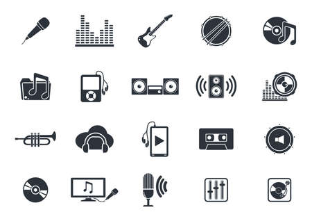 muziekinstrumenten en media player iconen Stock Illustratie