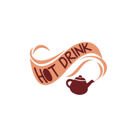 hot drink: teapot with hot drink text Illustration