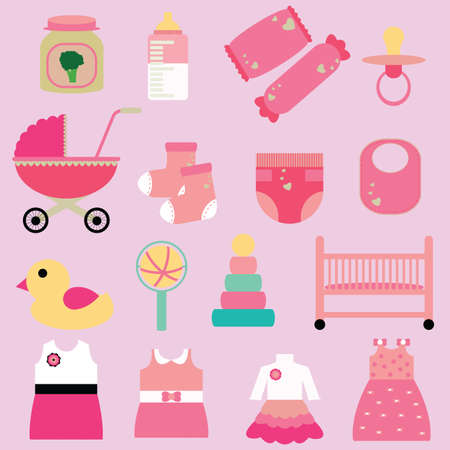 inner wear: set of girl baby icons