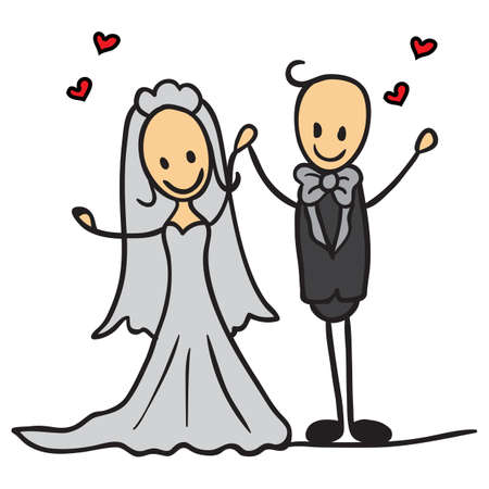 couple holding hands: wedding couple holding hands Illustration