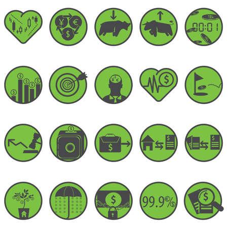 stockmarket chart: money icons