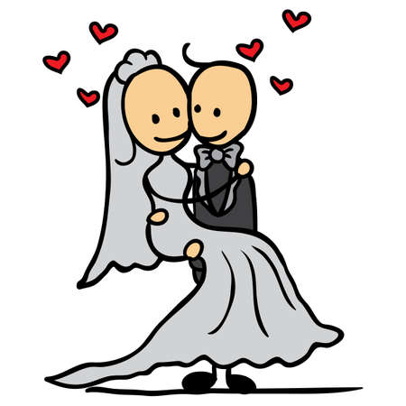 carrying: bridegroom carrying his bride Illustration