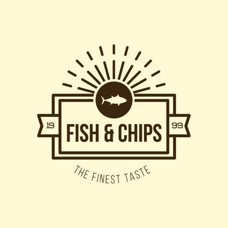 fish and chips: fish and chips label Illustration