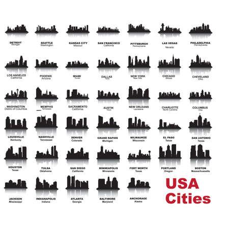 skyline van de stad silhouetten collectie Stock Illustratie