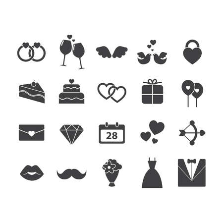 balloon bouquet: set of wedding icons Illustration