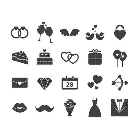 set of wedding icons Illustration