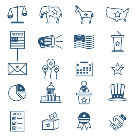 republican party: collection of usa election icons Illustration