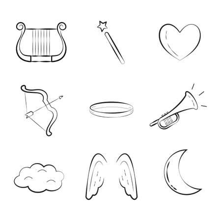moon angels: set of angel icons