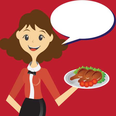 waitress: waitress with food