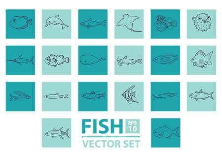 arowana: set of fishes Illustration