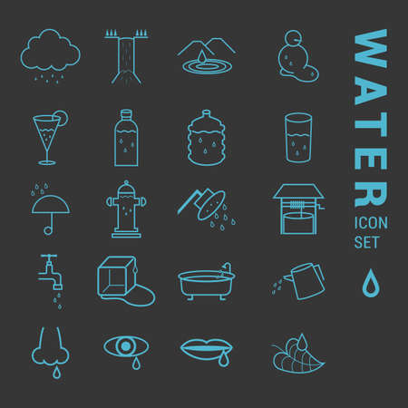 dewdrops: water icon set Illustration
