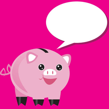 swines: piggy bank with speech bubble Illustration