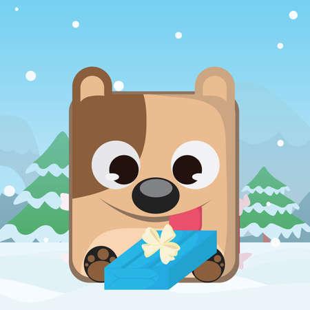 dog gift: dog with gift box