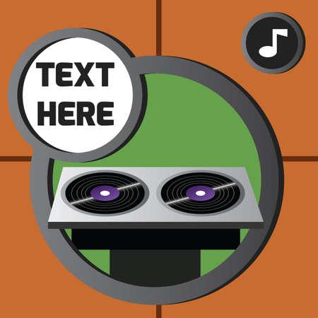 turntable: dj turntable with music icon Illustration