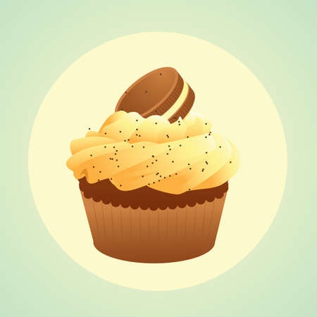 topping: cupcake with cookie sandwich topping Illustration