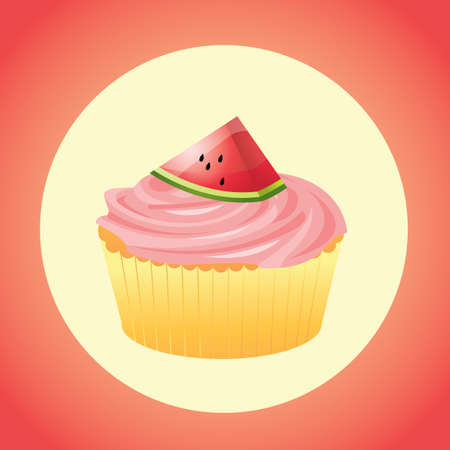 watermelon slice: cupcake with watermelon slice topping