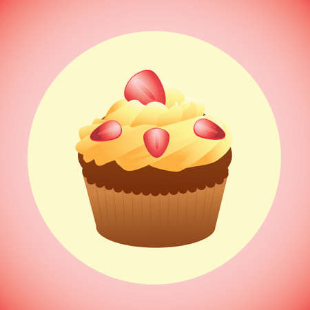 topping: cupcake with strawberries topping Illustration