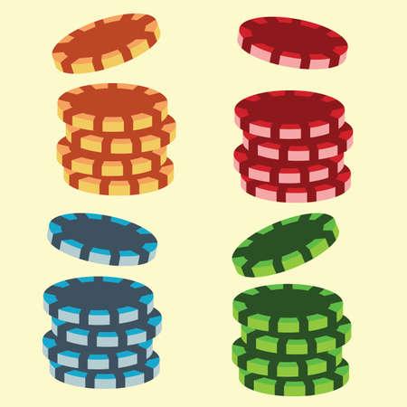 token: stacks of casino chips Illustration