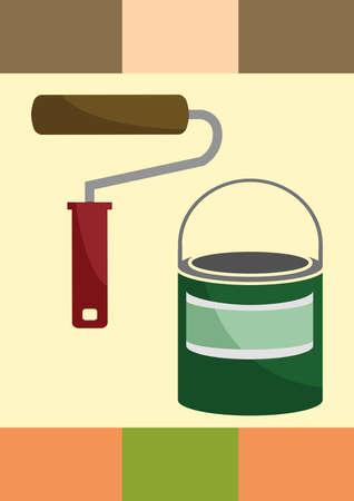 roller brush: paint bucket and roller brush