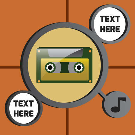 audio cassette: audio cassette with music icon
