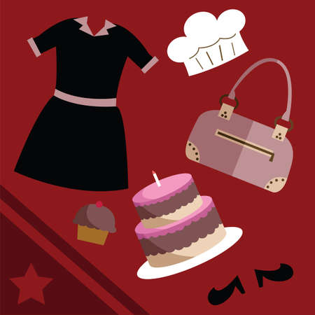 outfit: collection of outfit and accessories of a baker Illustration