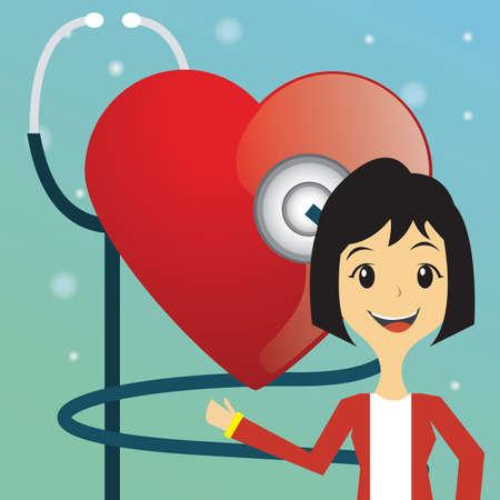 heart beat: woman doctor checking heart beat Illustration