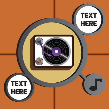 turntable: turntable with music icon Illustration
