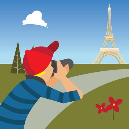 taking: man taking photograph Illustration