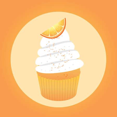 topping: cupcake with orange topping