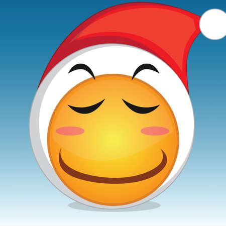 blushing: blushing emoticon with santa hat Illustration