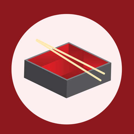 bento box with chopsticks Illustration