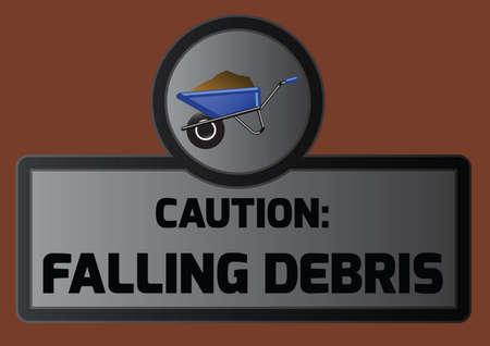 debris: falling debris board with wheelbarrow icon