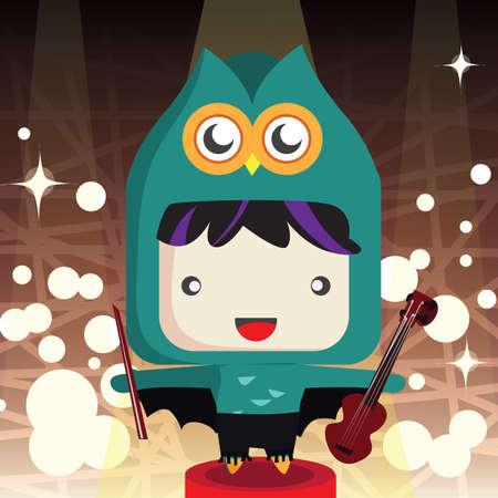 boy playing guitar: boy in owl costume playing guitar Illustration