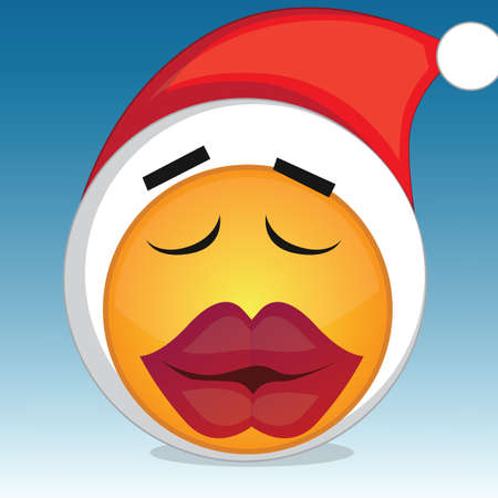 outerwear: kissing emoticon with santa hat
