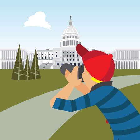 man taking photograph of washington capitol building Illustration