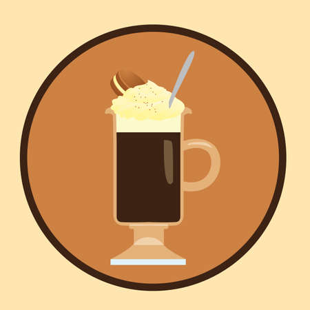 whipped cream: coffee with whipped cream and cookie sandwich Illustration