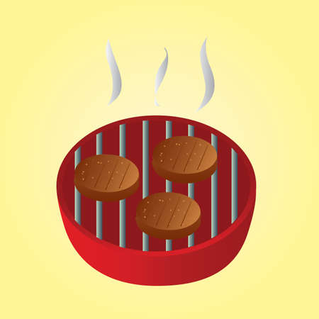 barbeque grill: meat patties grilling on the barbeque grill Illustration