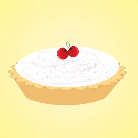 crust: cream pie with cherry toppings Illustration