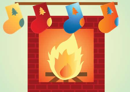 stone fireplace: stone fireplace with hanging christmas stockings Illustration