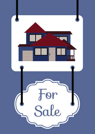 house for sale: house for sale board Illustration