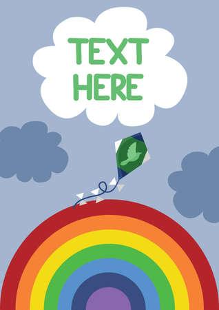 paper kites: kite on rainbow background Illustration