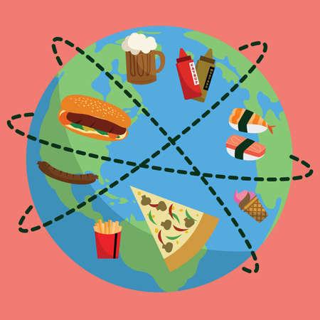 food: food on globe Illustration