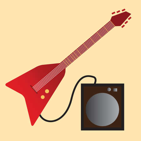 plugged: electric guitar plugged into amplifier Illustration