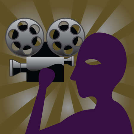 filming: poster of man holding cinema camera