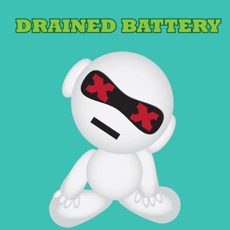 drained: robot with drained battery