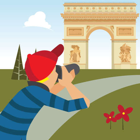 take a history: man taking photograph of arc de triomphe Illustration