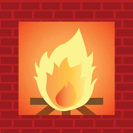 stone fireplace: stone fireplace Illustration