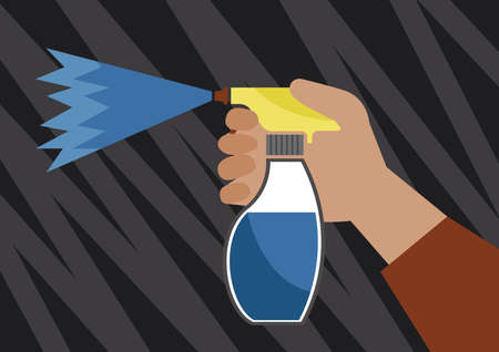 paint container: spray bottle in hand on abstract background